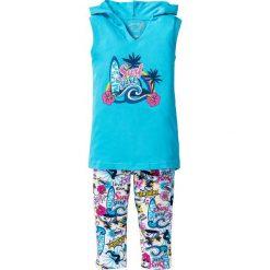 Top + legginsy rybaczki (2 części) bonprix turkusowy - z kolorowym nadrukiem. Niebieskie bluzki dziewczęce z nadrukiem marki bonprix, na lato, z długim rękawem. Za 54,99 zł.
