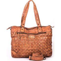 Skórzana torebka w kolorze szarobrązowym - 38 x 29 x 15 cm. Brązowe torby na laptopa marki neropantera, w paski, ze skóry. W wyprzedaży za 478,95 zł.