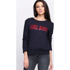 Bluzy damskie: Granatowa Bluza Boss Lady