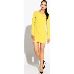 Żółto Limonkowa Prosta Sukienka z Rozciętymi Długimi Rękawami. Czarne sukienki balowe marki Mohito, l, z dekoltem na plecach. Za 219,90 zł.