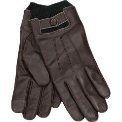 Rękawiczki męskie. Brązowe rękawiczki męskie Gino Rossi, na jesień, ze skóry. Za 229,90 zł.