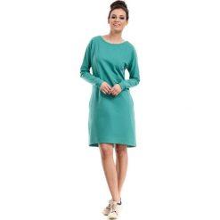 Zielona Sukienka Trapezowa z Kieszeniami. Zielone sukienki balowe Molly.pl, na co dzień, l, z elastanu, z klasycznym kołnierzykiem, oversize. Za 129,90 zł.