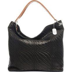 Torebki klasyczne damskie: Skórzana torebka w kolorze czarnym – 38 x 35 x 13 cm