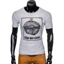 T-SHIRT MĘSKI Z NADRUKIEM S928 - SZARY. Szare t-shirty męskie z nadrukiem marki Ombre Clothing, m. Za 29,00 zł.