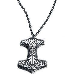 Amon Amarth Thorhammer Naszyjnik czarny/odcienie srebrnego. Czarne naszyjniki męskie Amon Amarth, srebrne. Za 79,90 zł.