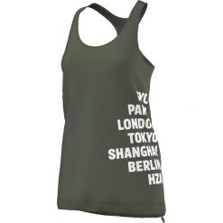 Adidas Koszulka Team Cool Tank zielona r. M (S16363). Szare topy sportowe damskie marki Adidas, l, z dresówki, na jogę i pilates. Za 49,80 zł.