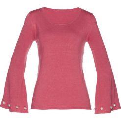 Sweter z perełkami bonprix dymny malinowy. Niebieskie swetry klasyczne damskie marki bonprix, z nadrukiem. Za 49,99 zł.