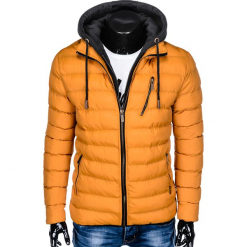 KURTKA MĘSKA PRZEJŚCIOWA PIKOWANA C384 - ŻÓŁTA. Żółte kurtki męskie bomber Ombre Clothing, m, z materiału. Za 149,00 zł.
