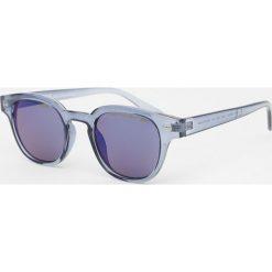 Okulary przeciwsłoneczne męskie: Okrągłe okulary przeciwsłoneczne w metalicznym niebieskim kolorze
