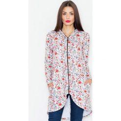 Bluzy damskie: Ecru Bluza na Suwak w Kwiaty z Kapturem