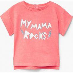 Mango Kids - Top dziecięcy Circa 80-104 cm. Różowe bluzki dziewczęce bawełniane marki Mango Kids, l, z nadrukiem, z okrągłym kołnierzem. W wyprzedaży za 19,90 zł.