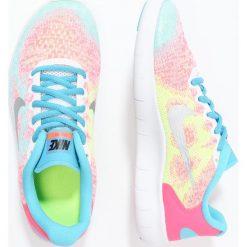 Nike Performance FREE RUN 2  Obuwie do biegania neutralne white/metallic silver/chlorine blue. Białe buty sportowe chłopięce Nike Performance, z materiału, do biegania. W wyprzedaży za 237,30 zł.