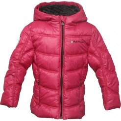 Kurtka w kolorze różowym. Czerwone kurtki dziewczęce zimowe marki Peak Mountain, z aplikacjami, z materiału. W wyprzedaży za 165,95 zł.