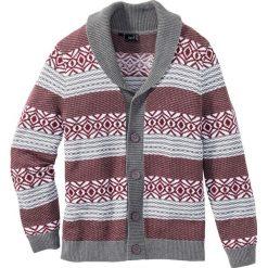 Sweter rozpinany Regular Fit bonprix szary melanż - bordowy. Czerwone kardigany męskie marki bonprix, m, melanż. Za 44,99 zł.