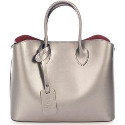 Torebki klasyczne damskie: Skórzana torebka w kolorze srebrnym – 32 x 14 x 25 cm