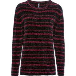 Sweter z szenilii bonprix czarno-czerwony klonowy w paski. Czarne swetry klasyczne damskie bonprix. Za 74,99 zł.