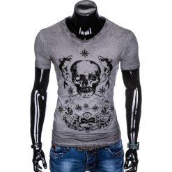 T-SHIRT MĘSKI Z NADRUKIEM S888 - GRAFITOWY. Szare t-shirty męskie z nadrukiem Ombre Clothing, m. Za 39,00 zł.
