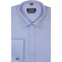 Koszula versone 2291 na spinki custom fit niebieski. Niebieskie koszule męskie na spinki marki bonprix, m, z nadrukiem, z klasycznym kołnierzykiem, z długim rękawem. Za 129,00 zł.
