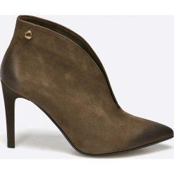 Carinii - Botki. Brązowe buty zimowe damskie Carinii, z materiału, na obcasie. W wyprzedaży za 199,90 zł.
