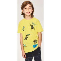 Odzież dziecięca: T-shirt z tropikalnym nadrukiem – Zielony