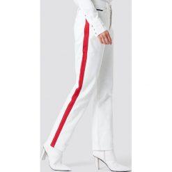 Spodnie damskie: Calvin Klein Spodnie HR Straight Taped - White