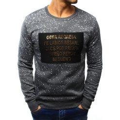 Bluzy męskie: Bluza męska bez kaptura z nadrukiem antracytowa (bx3116)