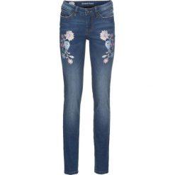 """Jeansy damskie: Dżinsy Skinny z haftem bonprix niebieski """"stone"""""""