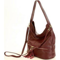 GIULIA Włoska torebka skórzana MAZZINI - czerwona bordo. Czerwone torebki klasyczne damskie MAZZINI, w paski, ze skóry, zdobione. Za 249,00 zł.