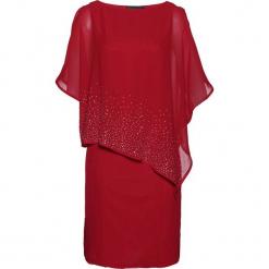 Sukienka z połyskującymi kamieniami bonprix czerwony chili. Czerwone sukienki z falbanami bonprix, ołówkowe. Za 279,99 zł.