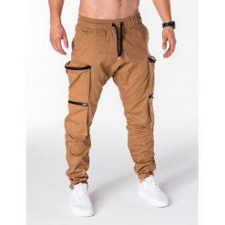 SPODNIE MĘSKIE JOGGERY P706 - RUDE. Brązowe joggery męskie marki Ombre Clothing. Za 99,00 zł.