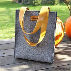Torebki klasyczne damskie: Top Glam – Klasyczna torebka z filcu – szara
