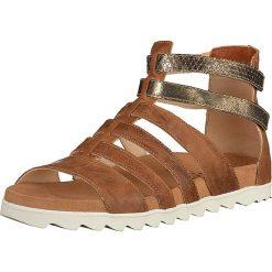 """Rzymianki damskie: Skórzane sandały """"Pomali"""" w kolorze jasnobrązowym"""