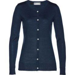 Sweter rozpinany z wełny merino bonprix ciemnoniebieski. Niebieskie kardigany damskie marki bonprix, z wełny. Za 179,99 zł.