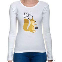 Koszulka damska z zimową wiewiórką. Szare bluzki z odkrytymi ramionami Pakamera, z nadrukiem. Za 65,00 zł.