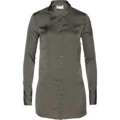 Bluzka satynowa bonprix zielono-szary. Szare bluzki asymetryczne bonprix, z satyny, z długim rękawem. Za 89,99 zł.