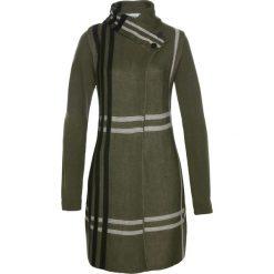 Płaszcz dzianinowy bonprix ciemnooliwkowy w kratę. Zielone płaszcze damskie bonprix, z dzianiny. Za 79,99 zł.