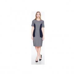 Sukienka z krótkim rękawem SL2167. Szare sukienki mini marki Soleil, z elastanu, z krótkim rękawem. Za 119,00 zł.