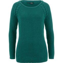 Sweter  w warkocze bonprix głęboki zielony. Zielone swetry klasyczne damskie bonprix. Za 74,99 zł.
