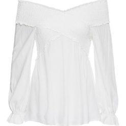 """Bluzka """"carmen"""" z przeszyciem cienkimi gumkami bonprix biel wełny. Białe bluzki asymetryczne bonprix, z wełny, z kołnierzem typu carmen. Za 89,99 zł."""