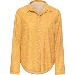 Bluzki asymetryczne: Bluzka w kropki bonprix ciemnożółto-biały w kropki