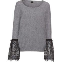 Swetry klasyczne damskie: Sweter z koronkową wstawką w rękawach bonprix szary melanż