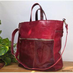 Torebki i plecaki damskie: Czerwona skórzana torba skóra z włosem
