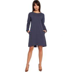 ELI Sukienka asymetryczna niebieska. Niebieskie sukienki asymetryczne BE, l, z asymetrycznym kołnierzem, z krótkim rękawem, mini. Za 139,99 zł.