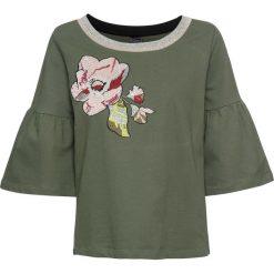 Bluza dresowa bonprix oliwkowy. Zielone bluzy damskie bonprix, z haftami, z dresówki. Za 74,99 zł.