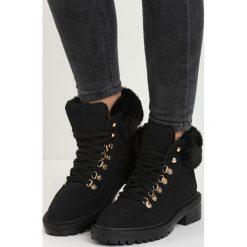 Czarne Traperki Fancy Crazy. Czerwone buty zimowe damskie marki Reserved, na niskim obcasie. Za 109,99 zł.
