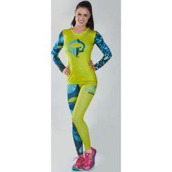 """Bluzki asymetryczne: Ground Game Sportswear Koszulka damska Rashguard """"Flowers"""" długi rękaw Żółto-niebieska r. L"""