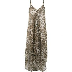 Sukienka plażowa bonprix beżowo-brązowy leo. Brązowe sukienki asymetryczne bonprix, na plażę, z szyfonu, z asymetrycznym kołnierzem. Za 99,99 zł.