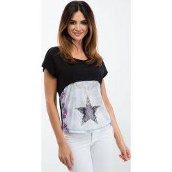 Bluzki damskie: Czarna bluzka z łączonych materiałów 2305
