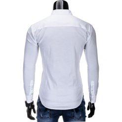 KOSZULA MĘSKA ELEGANCKA Z DŁUGIM RĘKAWEM K219 - BIAŁA. Brązowe koszule męskie na spinki marki Ombre Clothing, m, z aplikacjami, z kontrastowym kołnierzykiem, z długim rękawem. Za 49,00 zł.