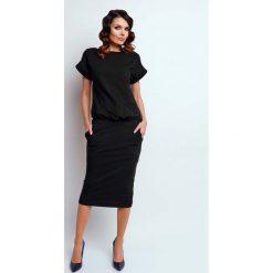 Sukienki: Czarna Nowoczesna Sukienka Midi z Krótkim Rękawkiem